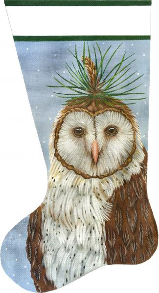 click here to view larger image of Pine Owl Stocking (hand painted canvases)