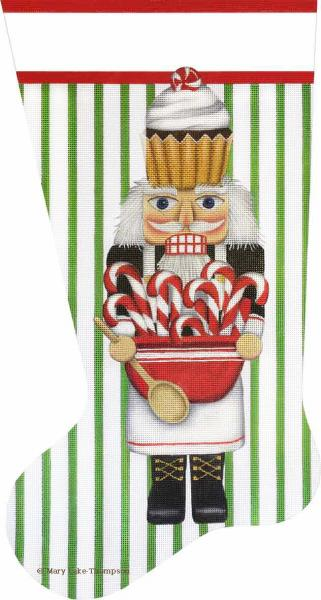 click here to view larger image of Cupcake Nutcracker Stocking (hand painted canvases)