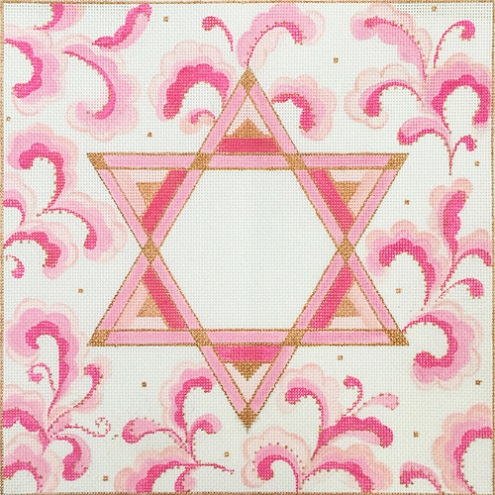 click here to view larger image of Pink Star of David (hand painted canvases)