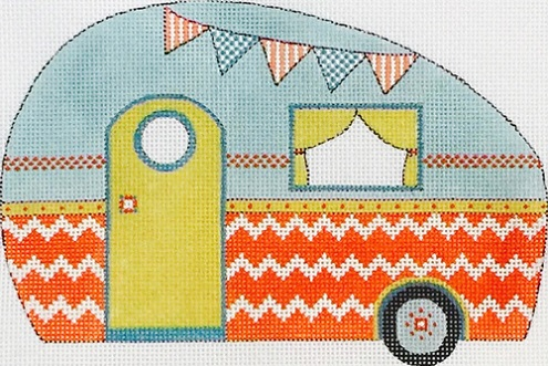 click here to view larger image of Red and Light Blue Travel Trailer (hand painted canvases)
