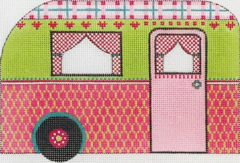 click here to view larger image of Pink and Lime Green Travel Trailer (hand painted canvases)