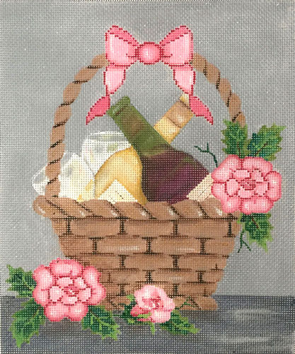 click here to view larger image of Wine and Roses Basket (hand painted canvases)