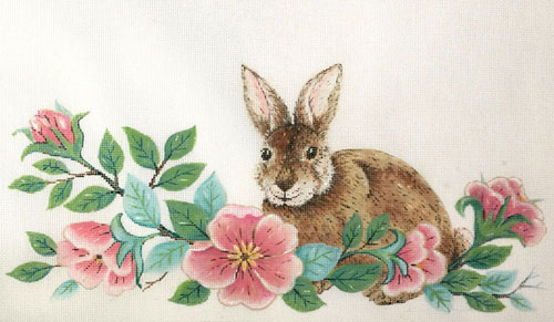 click here to view larger image of Bunny and Wild Roses (hand painted canvases)