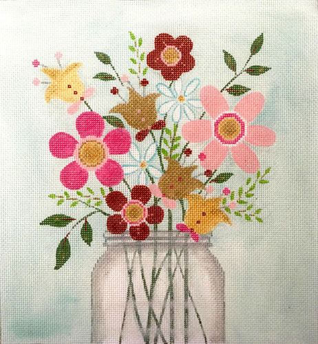 click here to view larger image of Mason Jar Of Flowers (hand painted canvases)