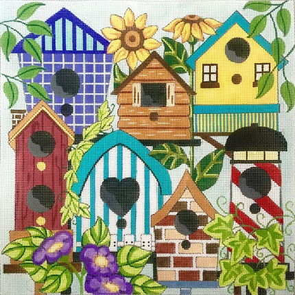 click here to view larger image of Birdhouses (hand painted canvases)