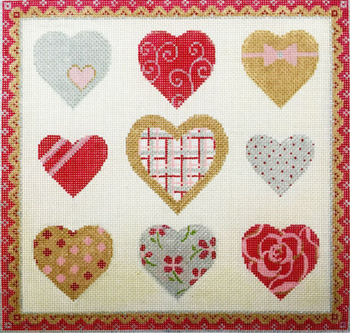 click here to view larger image of Sparkle Hearts (hand painted canvases)
