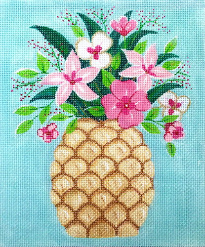 click here to view larger image of Pineapple With Flowers (hand painted canvases)