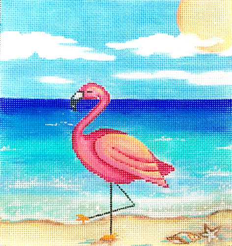 click here to view larger image of Flamingo On The Beach (hand painted canvases)