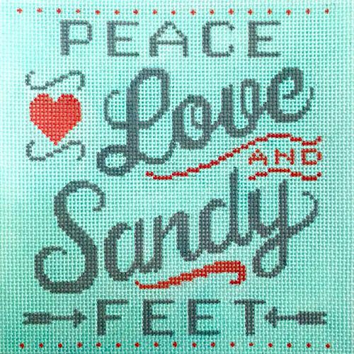 click here to view larger image of Peace Love and Sandy Feet (hand painted canvases)