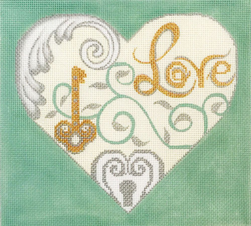 click here to view larger image of Love and Key Heart (hand painted canvases)