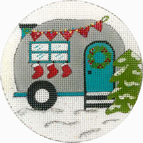click here to view larger image of Travel Trailer With Stockings Ornament (hand painted canvases)