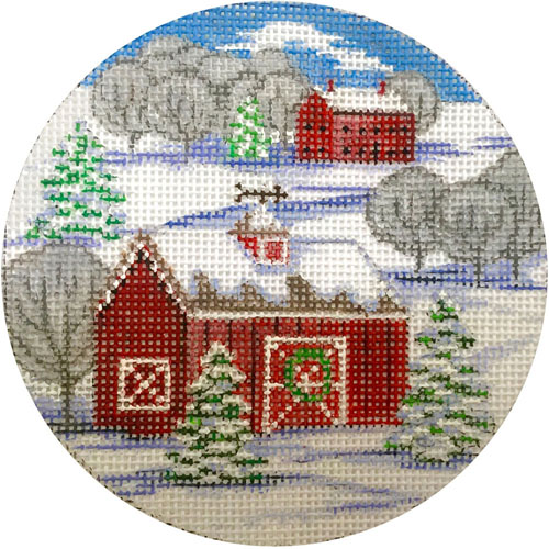 click here to view larger image of Red Barn Winter Scene Ornament (hand painted canvases)