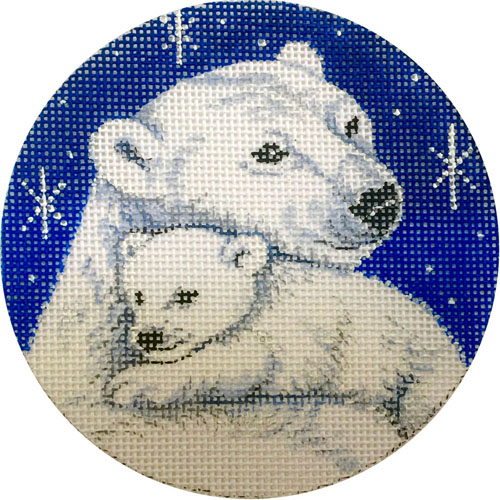 click here to view larger image of Polar Bear Mama and Cub Ornament (hand painted canvases)