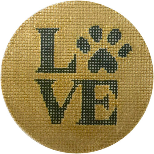 click here to view larger image of Love Paw Ornament (hand painted canvases)