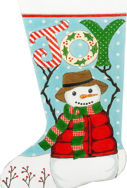 click here to view larger image of Snowman Joy Stocking (hand painted canvases)