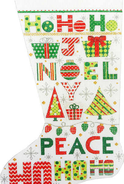 click here to view larger image of Christmas Words Stocking (hand painted canvases)