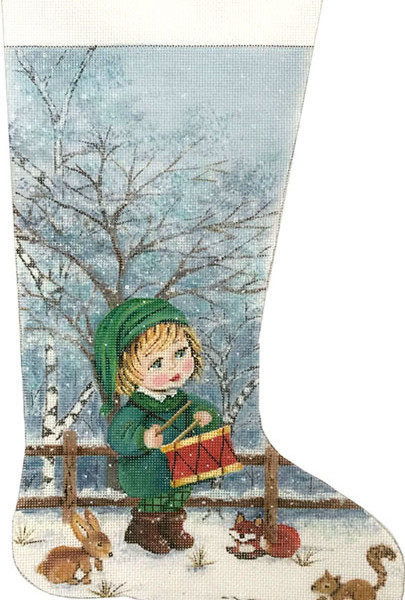 click here to view larger image of Little Dummer Boy Stocking (hand painted canvases)