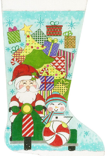 click here to view larger image of Santa On Scooter Stocking (hand painted canvases)