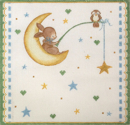 click here to view larger image of Bunny Fishing For A Star (hand painted canvases)