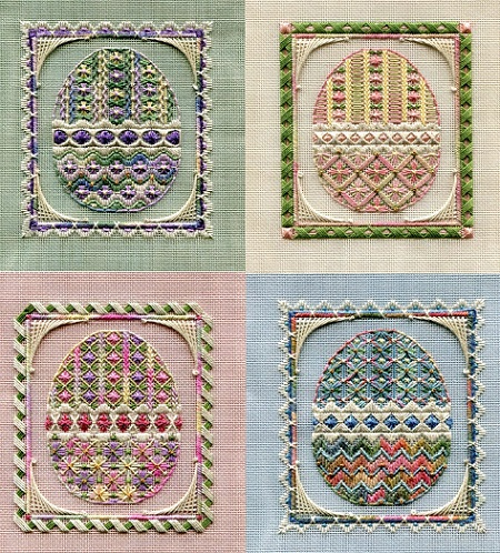 click here to view larger image of Easter Egg Ornaments (Includes Embellishments) (counted canvas work)