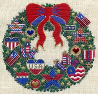Patriots Wreath counted canvas work