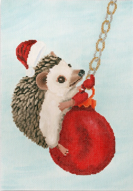 click here to view larger image of Hedgehog Swinging On Ornament (hand painted canvases)