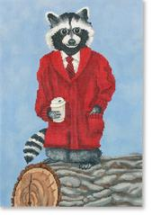 click here to view larger image of Dapper Raccoon (hand painted canvases)