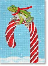click here to view larger image of Frog With Candy Cane (hand painted canvases)