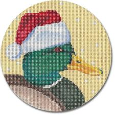 click here to view larger image of Mallard Duck With Santa Hat Ornament (hand painted canvases)