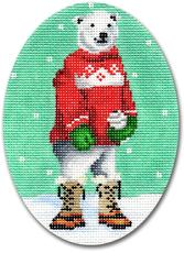 click here to view larger image of Polar Bear With Red Sweater Ornament (hand painted canvases)