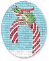 click here to view larger image of Frog On Candy Cane Ornament (hand painted canvases)