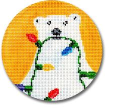 click here to view larger image of Polar Bear With Lights Ornament (hand painted canvases)