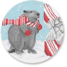 click here to view larger image of Beaver With Candy Cane Ornament (hand painted canvases)