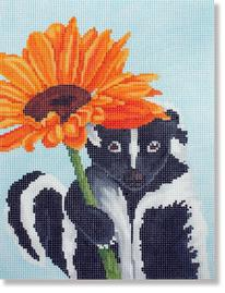 click here to view larger image of Skunk With Flower (Small) (hand painted canvases)