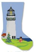 click here to view larger image of Lighthouse With Sandman Mini Stocking (hand painted canvases)