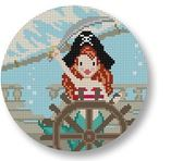 click here to view larger image of Mermaid Pirate Ornament (hand painted canvases)
