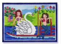 click here to view larger image of Mermaids and Swan Boat Ornament (hand painted canvases)