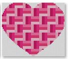 click here to view larger image of Heart Stash Bag Ornament - Pinks (hand painted canvases)