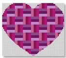 click here to view larger image of Heart Stash Bag Ornament - Fuschia (hand painted canvases)