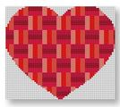 click here to view larger image of Heart Stash Bag Ornament - Reds (hand painted canvases)