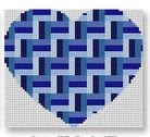 click here to view larger image of Heart Stash Bag Ornament - Blues (hand painted canvases)