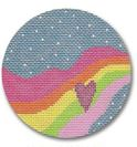click here to view larger image of Rainbow With Heart Ornament (on brown) (hand painted canvases)