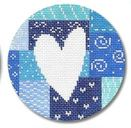 click here to view larger image of White Heart On Blue Patchwork Ornament (hand painted canvases)