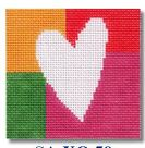 click here to view larger image of White Heart On Block Shapes Ornament (hand painted canvases)