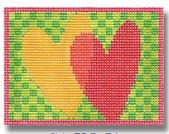 click here to view larger image of Red Orange Hearts On Checkerboard Ornament (on beige canvas) (hand painted canvases)