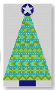 click here to view larger image of Stitcher's Christmas Tree Ornament - Light Blue (hand painted canvases)
