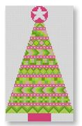 click here to view larger image of Stitcher's Christmas Tree Ornament - Pink (hand painted canvases)