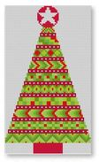 click here to view larger image of Stitcher's Christmas Tree Ornament - Red (hand painted canvases)