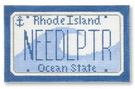 click here to view larger image of Mini License Plate - Rhode Island (hand painted canvases)