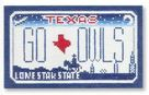 click here to view larger image of Mini License Plate - Go Owls - Texas (hand painted canvases)